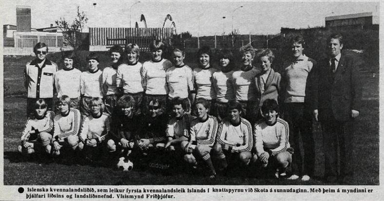 Fyrsta A-landslið kvenna sem keppti fyrir Íslands hönd. Vísir, 16. september 1981.